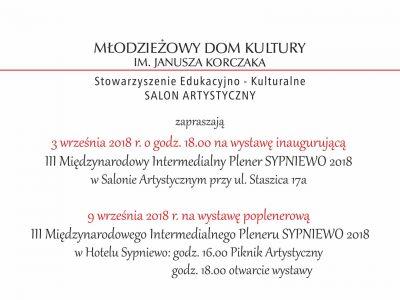 III Międzynarodowy Intermedialny Plener SYPNIEWO 2018